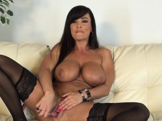 Big breasted cougar in black..