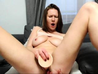 Horny brunette MILF toying..
