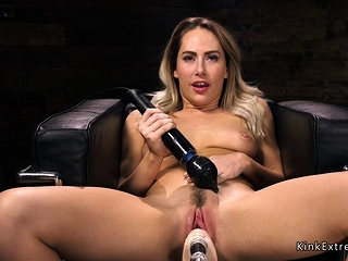 Blonde vibrates clit plus..