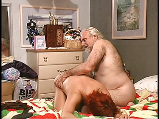 Hairy guy spanks busty..