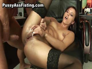 Horny whore gets her gaping..