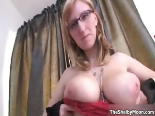 Busty blonde slut gets horny..
