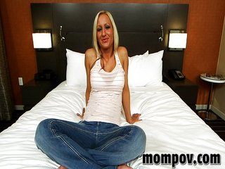 Horny blonde MILF in first..
