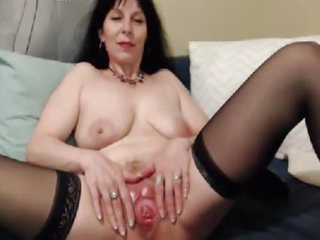 old lady opens her pussy for..