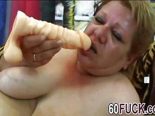 Chubby granny masturbates..