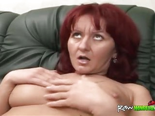 Redhead mature receives cock..