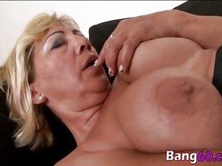 Busty granny enjoys..