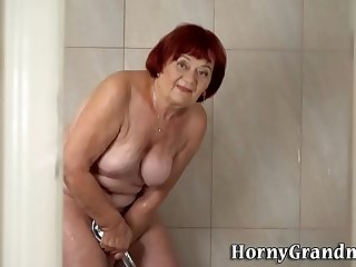Showering granny redhead..