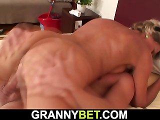 Older blonde woman enjoys..