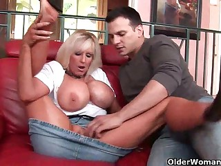 Mom with huge tits gets cum..