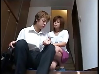 Shy japanise milf plays with..