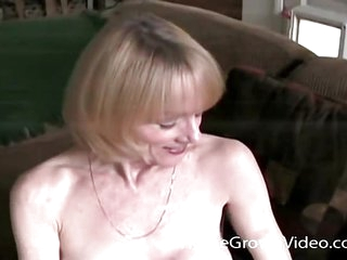 Mature blonde in her first..