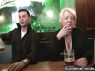 Drunk mom fucked by two guys..